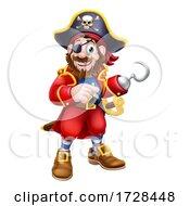 Pirate Captain Cartoon Mascot Pointing
