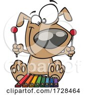 Cartoon Dog Playing A Xylophone