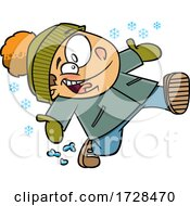 Cartoon Boy Running In Snow