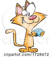 Cartoon Cat With A Poker Face