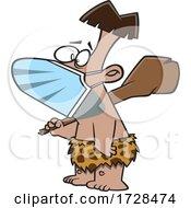 Cartoon Caveman Wearing A Mask