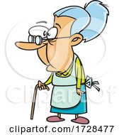 Cartoon Granny Using A Cane