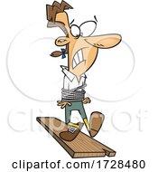 Cartoon Man Walking The Plank