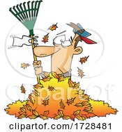 Cartoon Man Waving A White Rake Flag In A Pile Of Autumn Leaves