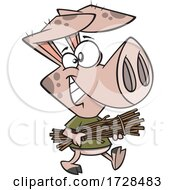Poster, Art Print Of Cartoon Pig Carrying Sticks From The Three Little Pigs