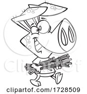 Poster, Art Print Of Cartoon Outline Pig Carrying Sticks From The Three Little Pigs
