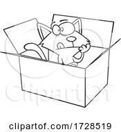 Cartoon Lineart Schrodingers Cat In A Box