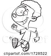 Cartoon Lineart Boy Strutting