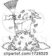Cartoon Lineart Man Waving A White Rake Flag In A Pile Of Autumn Leaves