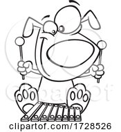 Cartoon Lineart Dog Playing A Xylophone