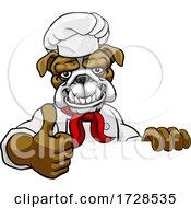 Poster, Art Print Of Bulldog Chef Mascot Thumbs Up Sign Cartoon