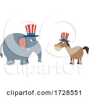 Poster, Art Print Of Political Elephant And Donkey