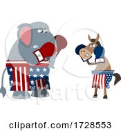 Poster, Art Print Of Political Elephant And Donkey Boxing