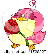 Chickadee Holding A Rose