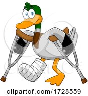 Mallard Duck With Crutches by Hit Toon