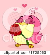 Chickadee In Love And Holding A Rose