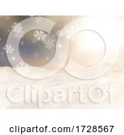 3D Christmas Landscape With Falling Snowflakes