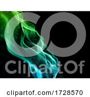 3D Flowing Particles Science Background With Shallow Depth Of Field