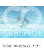 Poster, Art Print Of 3d Winter Christmas Landscape With Tree Reflected In Water