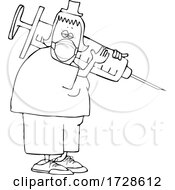Cartoon Tired Nurse Wearing A Mask And Carrying A Giant Syringe