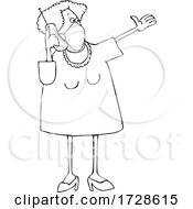 Cartoon Lady Wearing A Mask And Talking On A Cell Phone