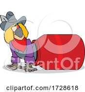 Cartoon Rodeo Clown Climbing Out Of A Barrel And Wearing A Mask
