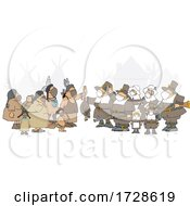 Cartoon Group Of Pilgrims Wearing Masks And Offering A Dead Turkey To Native Americans