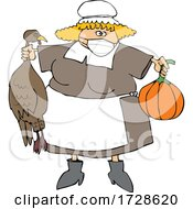 Cartoon Pilgrim Woman Holding A Turkey And Pumpkin And Wearing A Mask