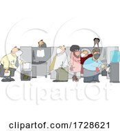 Cartoon Office Workers Wearing Masks
