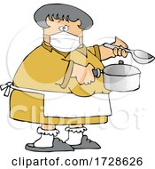Cartoon Lady Wearing A Mask And Cooking