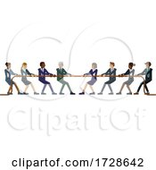 Tug Of War Rope Pulling Business People Concept