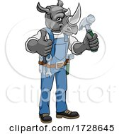 Poster, Art Print Of Rhino Mascot Carpenter Handyman Holding Hammer