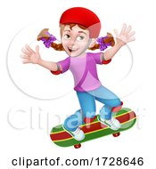 Poster, Art Print Of Girl Kid On Skateboard Skateboarding Cartoon