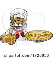 Wildcat Pizza Chef Cartoon Restaurant Mascot Sign