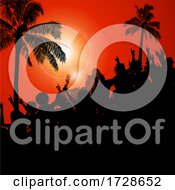 Silhouette Crowd And Palm Trees On Red Background