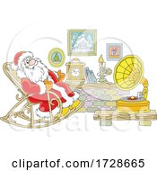 Christmas Santa Sitting In A Rocking Chair And Listening To Music On A Phonograph