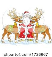 Christmas Santa With Reindeer