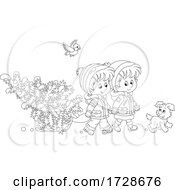 Puppy And Bird With Children Moving A Tree On A Sled