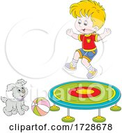 Poster, Art Print Of Puppy Dog Watching A Boy Jump On A Trampoline