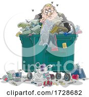 Cartoon Fat Politician Or Business Man In A Dumpster