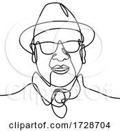 Asian Man Or Gentleman Wearing A Fedora Hat And Sunglasses Smiling Continuous Line Drawing