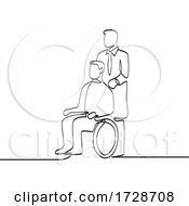 Patient Sitting On Wheelchair With Doctor Or Nurse Caregiver Continuous Line Drawing