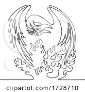 Phoenix A Mythological Bird That Cyclically Regenerates On Fire Front View Continuous Line Drawing Black And White