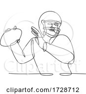 Poster, Art Print Of American Football Quarterback About To Throw Ball Continuous Line Drawing