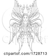 Seraph Or Seraphim A Six Winged Fiery Angel With Six Wings And Deer Antlers Tattoo Style Black And White