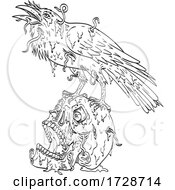 Raven Perching On Top Of Human Skull Dripping With Earthworm Or Borrowing Worm Line Art Drawing