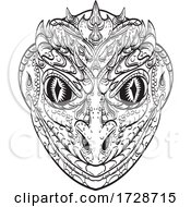 Head Of A Reptilian Humanoid Or Anthropomorphic Reptile Part Human Part Lizard Line Art Drawing