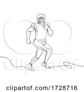 Poster, Art Print Of American Football Running Back Wide Receiver Quarterback Or Tight End Running With Ball Continuous Line Drawing