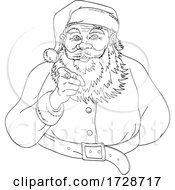 Santa Claus Saint Nicholas Or Father Christmas Pointing Index Finger Saying I Want You Line Art Drawing