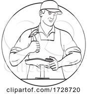 Cobbler Shoemaker Or Cordwainer Shoe Repair Repairing And Restoring Footwear Line Art Drawing Black And White